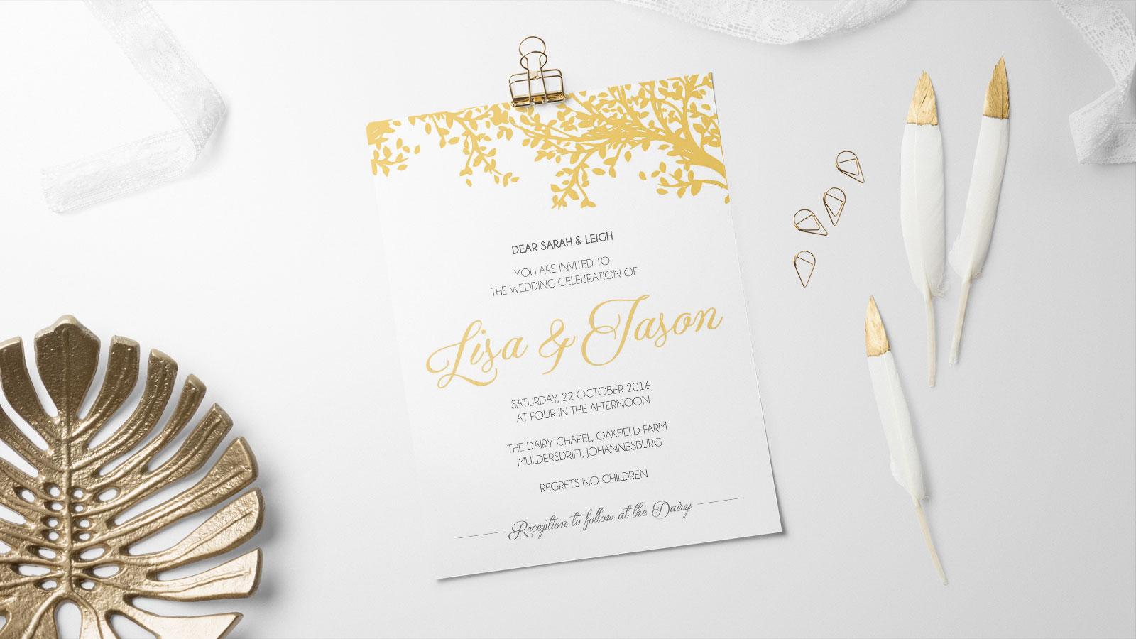 Wedding stationery, gold theme
