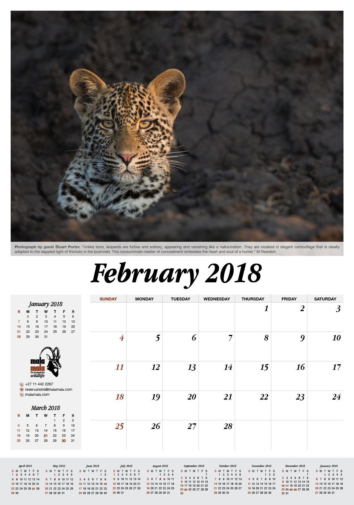 MalaMala Game Reserve Calendar