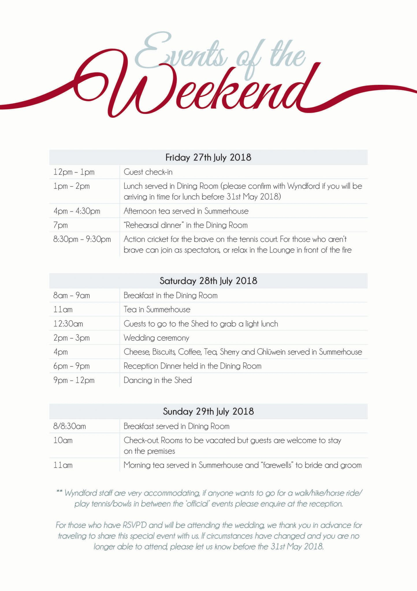 Wedding Itinerary - events of the weekend