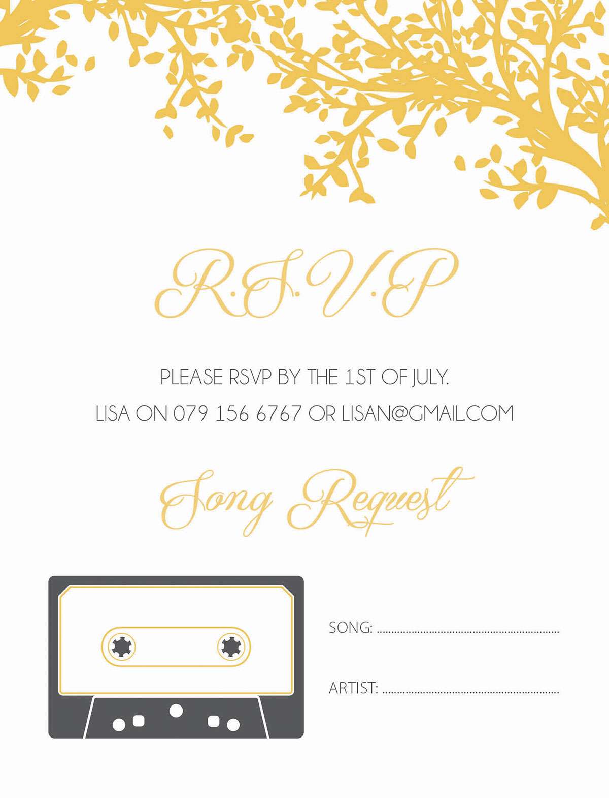 RSVP for wedding, song request